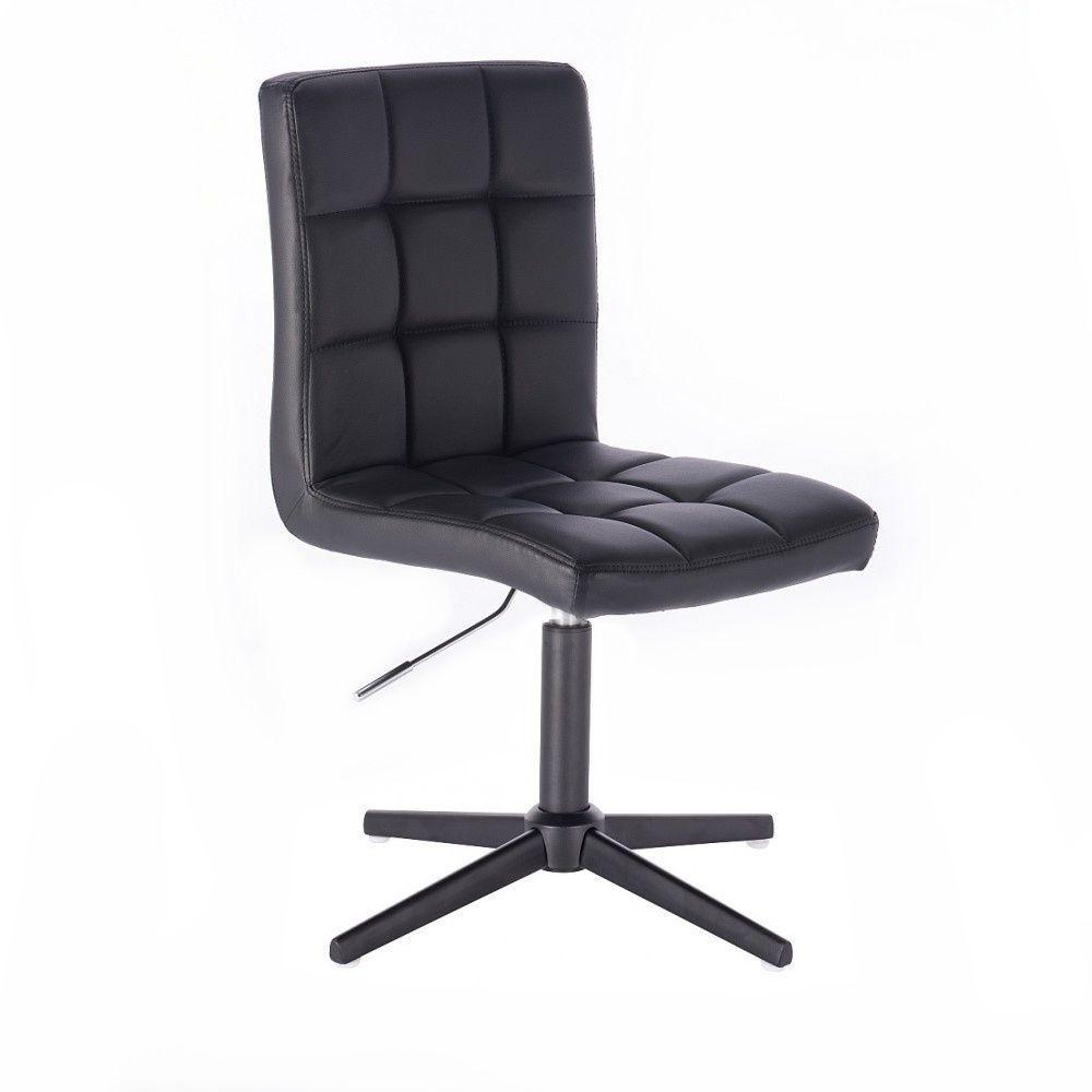 Kosmetická židle HC1015 na černém kříži - černá