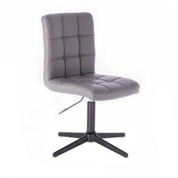 Kosmetická židle HC1015 na černém kříži - šedá