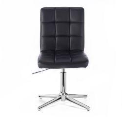 Kosmetická židle HC1015 na stříbrném kříži - černá