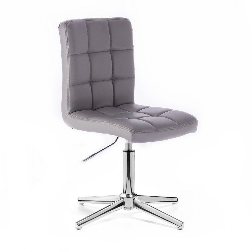 Kosmetická židle HC1015 na stříbrném kříži - šedá
