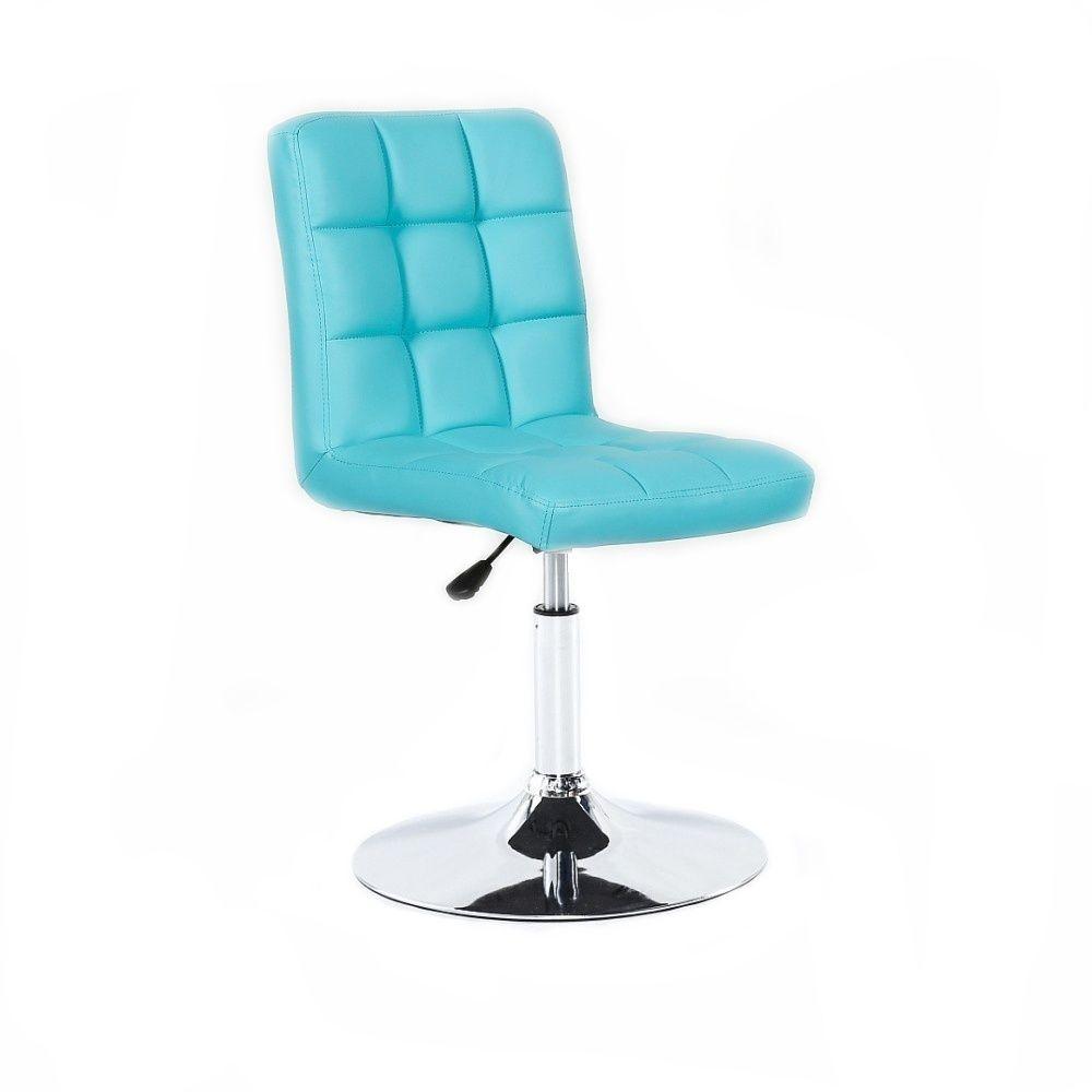 Kosmetická židle HC1015N na kulaté podstavě tyrkysová