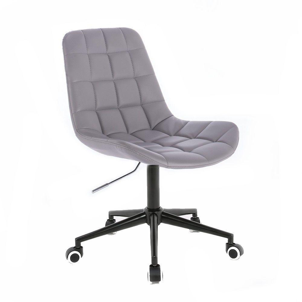 Kosmetická židle HR590 na černé podstavě s kolečky - šedá