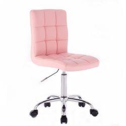 Kosmetická židle na kolečkách HC1015K růžová (V)
