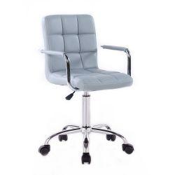 Kosmetická židle na podstavě s kolečky HC-1015KP šedá (V)