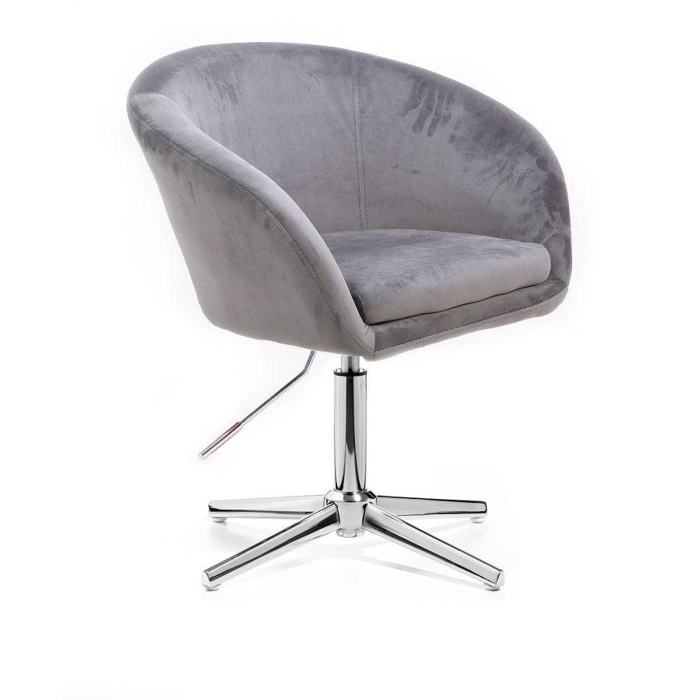 Kosmetická židle VENICE VELUR na stříbrném kříži - světle šedá