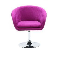 Kosmetická židle VENICE VELUR na stříbrném talíři - fuchsie