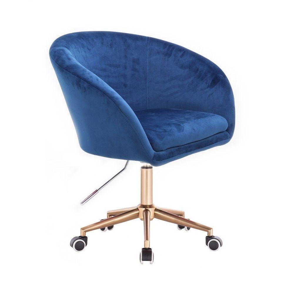 Kosmetická židle VENICE VELUR na zlaté podstavě s kolečky - modrá