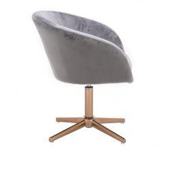 Kosmetická židle VENICE VELUR na zlatém kříži - světle šedá