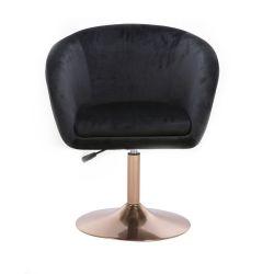 ŽKosmetická židle VENICE VELUR na zlatém talíři - černáidle VENICE VELUR na zlatém talíři - černá