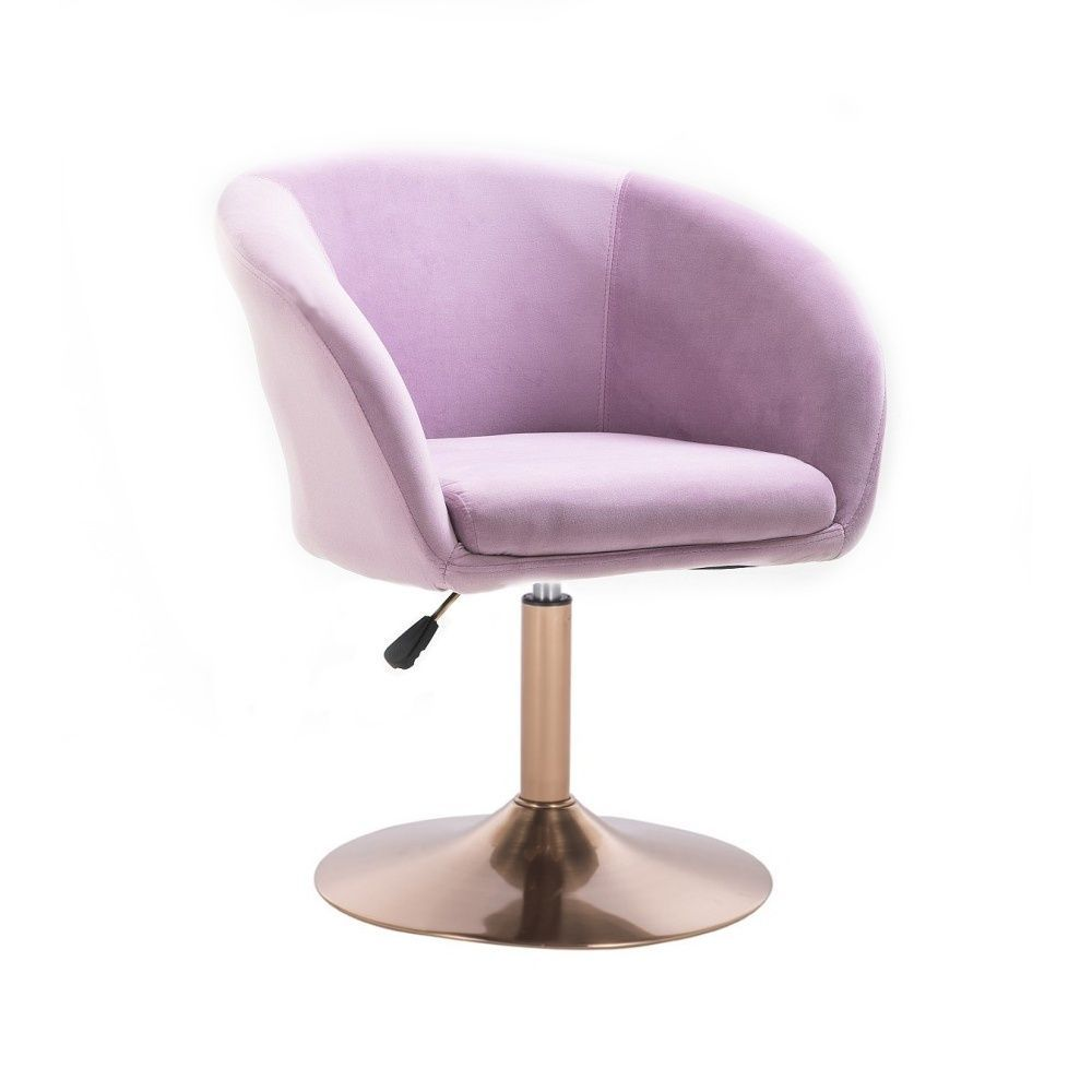 Kosmetická židle VENICE VELUR na zlatém talíři - fialový vřes