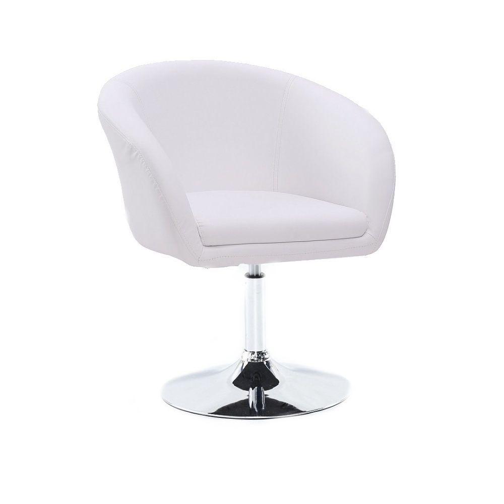 Židle HC-8326K na stříbrné kulaté podstavě - bílá