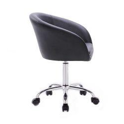 Židle HC- 8326K na stříbrné podstavě s kolečky - černá