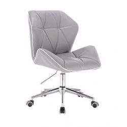 Kosmetická židle MILANO MAX na stříbrné podstavě s kolečky - šedá