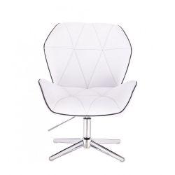 Kosmetická židle MILANO MAX na stříbrném kříži - bílá