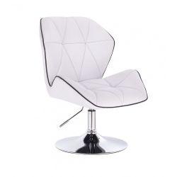 Kosmetická židle MILANO MAX na stříbrném talíři - bílá