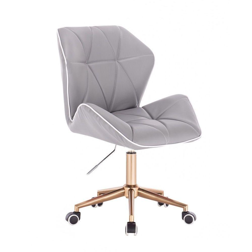 Kosmetická židle MILANO MAX na zlaté podstavě s kolečky - šedá