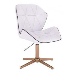 Kosmetická židle MILANO MAX na zlatém kříži - bílá