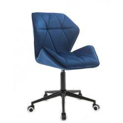 Kosmetická židle MILANO MAX VELUR na černé podstavě s kolečky - modrá