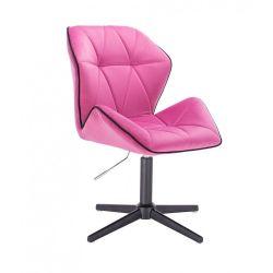 Kosmetická židle MILANO MAX VELUR na černém kříži - růžová
