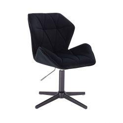 Kosmetická židle MILANO MAX VELUR na černém kříži - černá