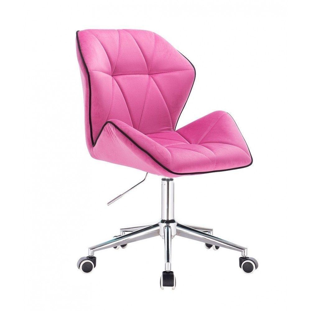Kosmetická židle MILANO MAX VELUR na stříbrné podstavě s kolečky - růžová