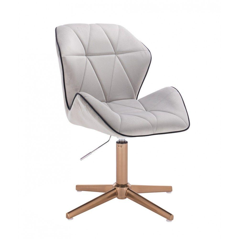 Kosmetická židle MILANO MAX VELUR na zlatém kříži - šedá