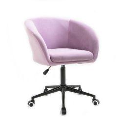 Kosmetická židle VENICE VELUR na černé podstavě s kolečky - fialový vřes