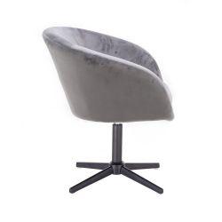 Kosmetická židle VENICE VELUR na černém kříži - světle šedá
