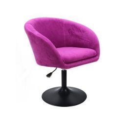 Kosmetická židle VENICE VELUR na černém talíři - fuchsie