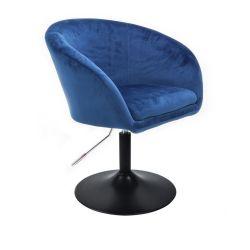 Kosmetická židle VENICE VELUR na černém talíři - modrá