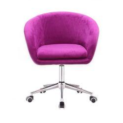 Kosmetická židle VENICE VELUR na stříbrné podstavě s kolečky - fuchsie
