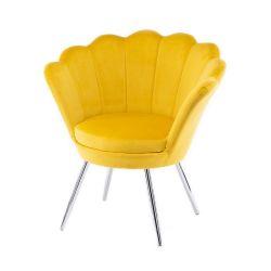 Kosmetické křeslo FREY VELUR se stříbrnými nohami - žluté