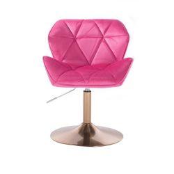 Kosmetická židle MILANO VELUR na zlatém talíři - růžová