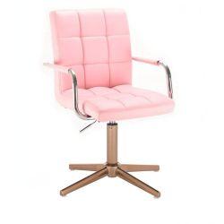 Kosmetická židle VERONA na zlatém kříži - růžová
