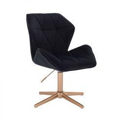 Kosmetická židle MILANO MAX VELUR na zlatém kříži - černá