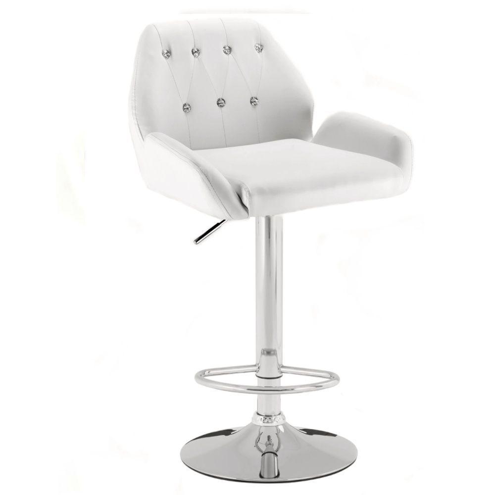 Barová židle LION na stříbrném talíři - bílá