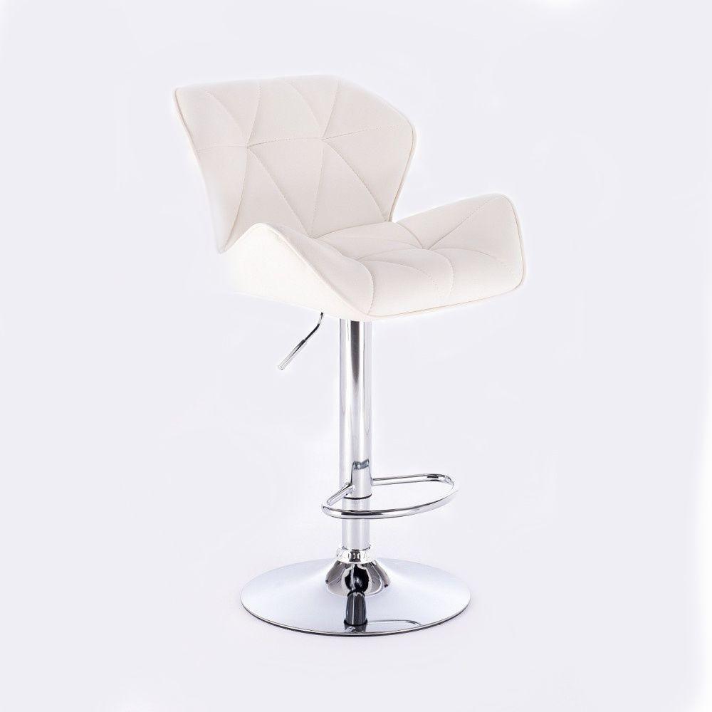 Barová židle MILANO na kulaté stříbrné podstavě - bílá