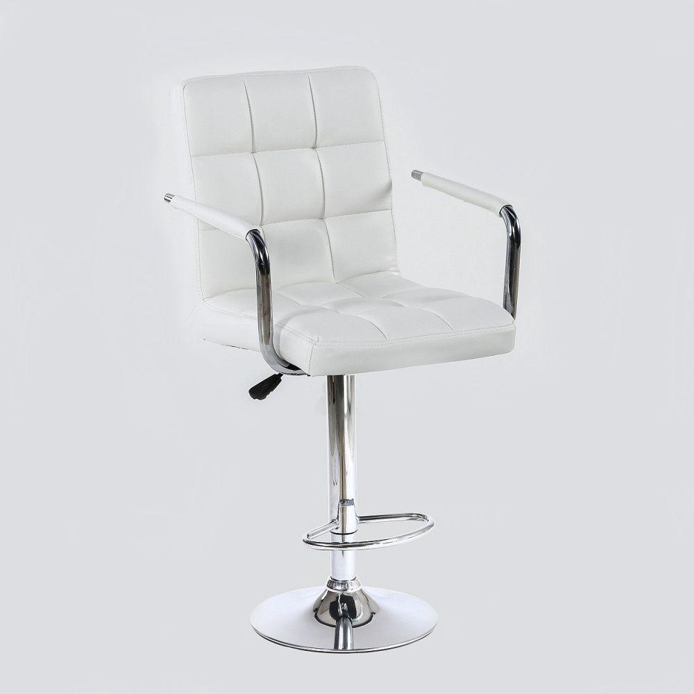 Barová židle VERONA na stříbrné kulaté podstavě - bílá