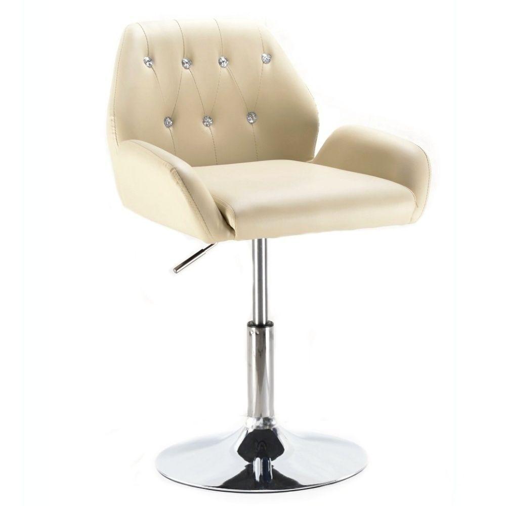 Kosmetická židle LION na stříbrné kulaté podstavě - krémová