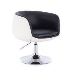 Kosmetická židle MONTANA na stříbrné kulaté podstavě - černobílá
