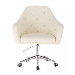 Kosmetická židle ROMA na stříbrné podstavě s kolečky - krémová