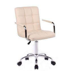 Kosmetická židle VERONA na stříbrné podstavě s kolečky - krémová