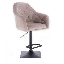 Barová židle ANDORA VELUR na černé podstavě - béžová