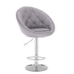 Barová židle VERA na stříbrné kulaté podstavě - šedá