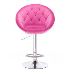 Barová židle VERA VELUR na stříbrné kulaté podstavě - sytá růžová