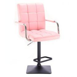 Barová židle VERONA na černé podstavě - růžová