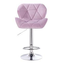 Barová židle MILANO VELUR na kulaté stříbrné podstavě - fialový vřes