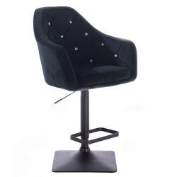 Barová židle ROMA VELUR na černé podstavě - černá