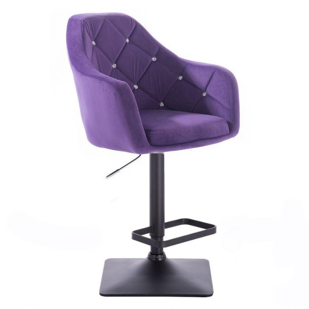 Barová židle ROMA VELUR na černé podstavě - fialová