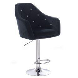 Barová židle ROMA VELUR na kulaté stříbrné podstavě - černá